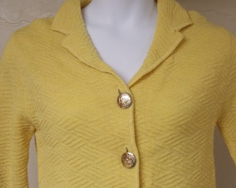 Mustard yellow vintage short jacket top button front vintage 50s/60s 3/4 sleeve S/M