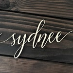Custom Word, Personalized Wood Sign, Wooden Name, Rustic Cursive Word, Room Decoration, Nursery, Wall hanging, Unfinished Wood, Script