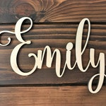 Custom Word 8-16 inches, Personalized Wood Sign, Wooden Name, Rustic Cursive Word, Room Decoration, Nursery, Unfinished Wood, Script