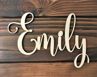 Custom Word, Personalized Wood Sign, Wooden Name, Rustic Cursive Word, Room Decoration, Nursery, Unfinished Wood, Script