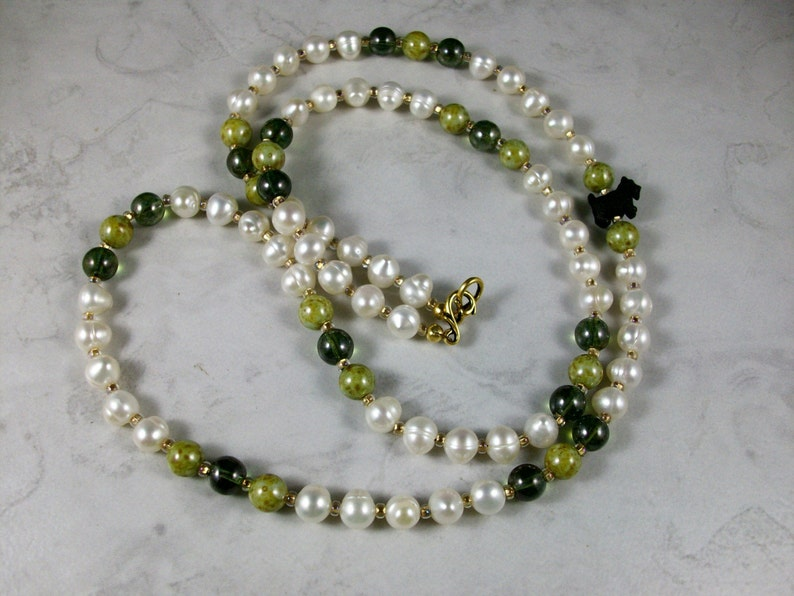 Simple Pearl and Vintage Green Glass OOAK Scottie Necklace and image 0