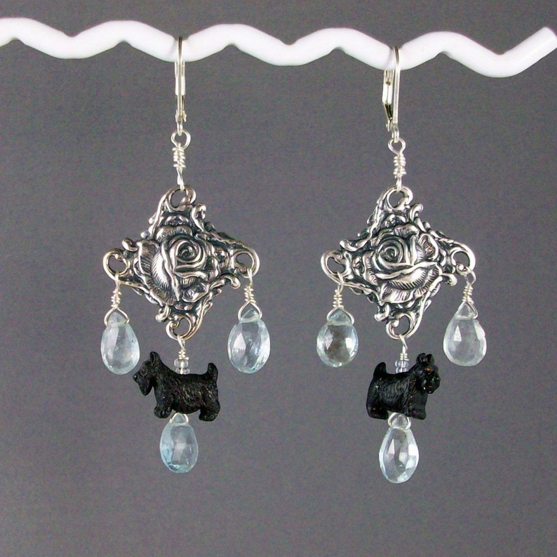 Watery Natural Aquamarine and Silver Rose OOAK Scottie image 0