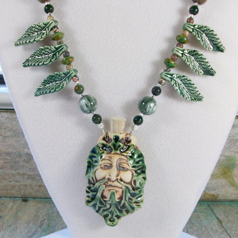 Green Man Amulet Bottle and Venus of Willendorf OOAK Scottie image 0