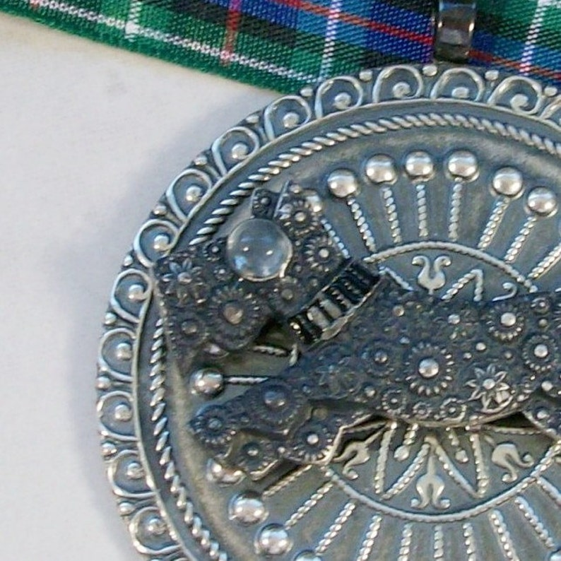 Round Vintage Silver and Moonstone Deco OOAK Scottie Pendant  image 0