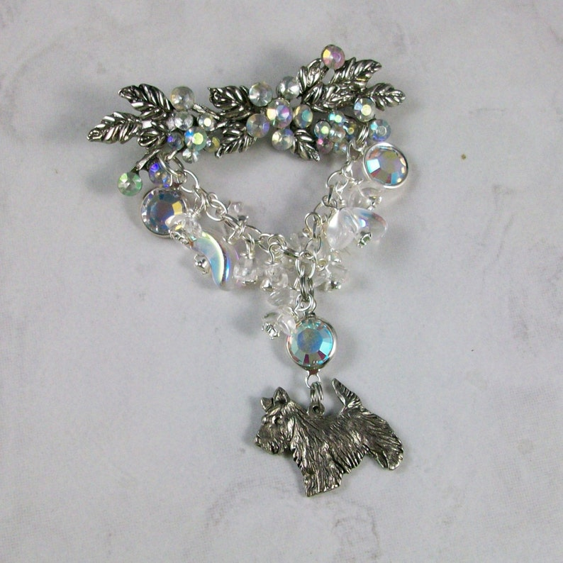Snow Flurry  Vintage Rhinestone and Silver OOAK Scottie image 0