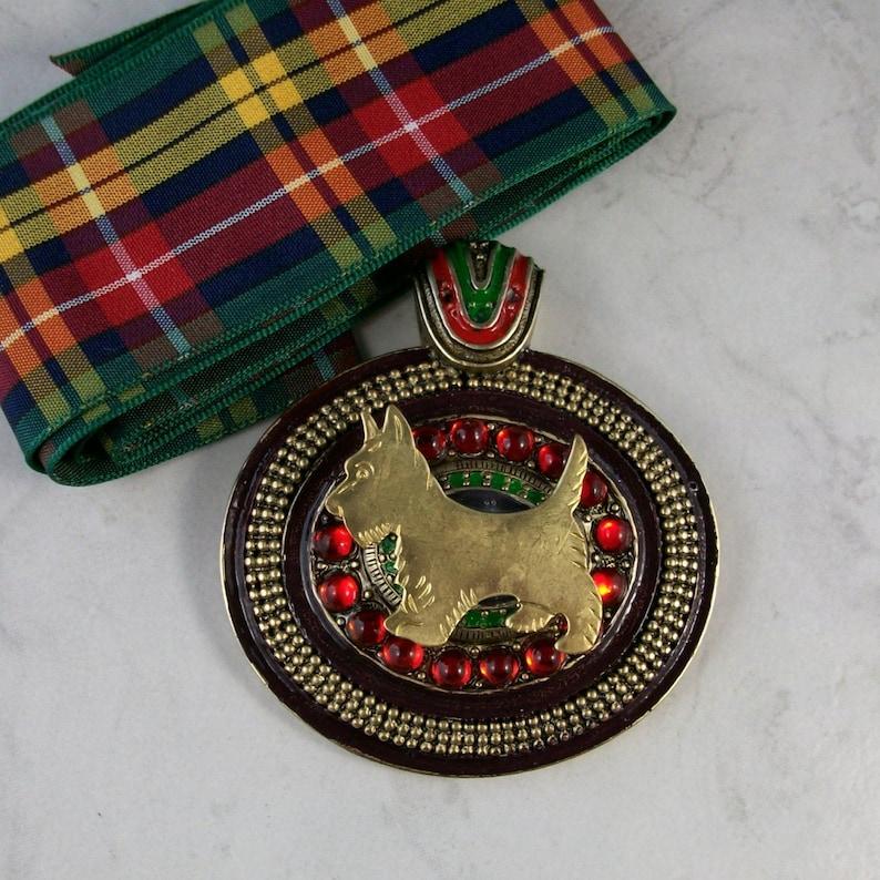Bold Jeweled and Enameled Vintage Bronze with Tartan Sash OOAK image 0