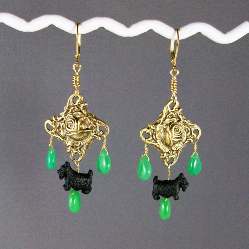 Opulent Green Chrysoprase and Gold Rose OOAK Scottie image 0