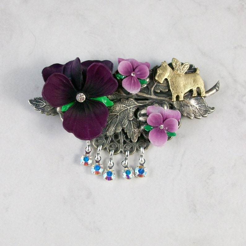 Violets Antiqued Silver and Brass Garden Flower Fairy OOAK image 0