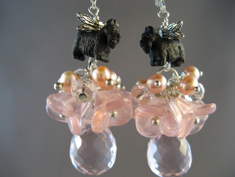Tinker Bell Rose Quartz Topaz Crystal and Pearl OOAK Scottie image 0