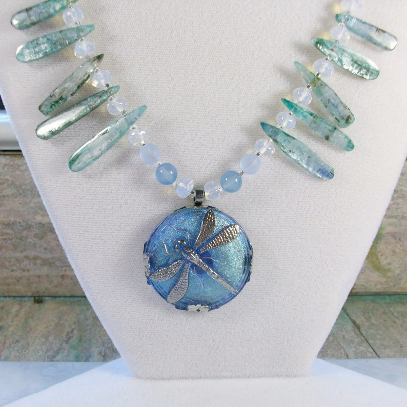 Blue Dragonfly Moon Stars Kyanite Opalite Chalcedony and image 0
