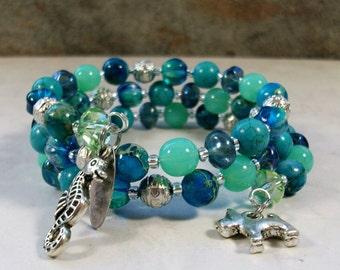 Tahiti Turquoise, Aqua Terra, Crystal and Silver OOAK Scottie Coil Bracelet - B-199s