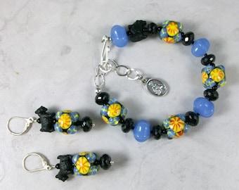 Talavera Lampwork, Spinel and Chalcedony OOAK Scottie Adjustable Bracelet and Earring Set - B-153ss