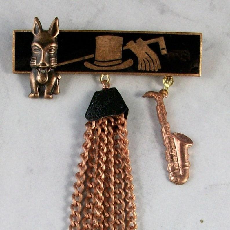 Le Jazz Hot  Art Deco Copper and Black enamel OOAK Scottie image 0