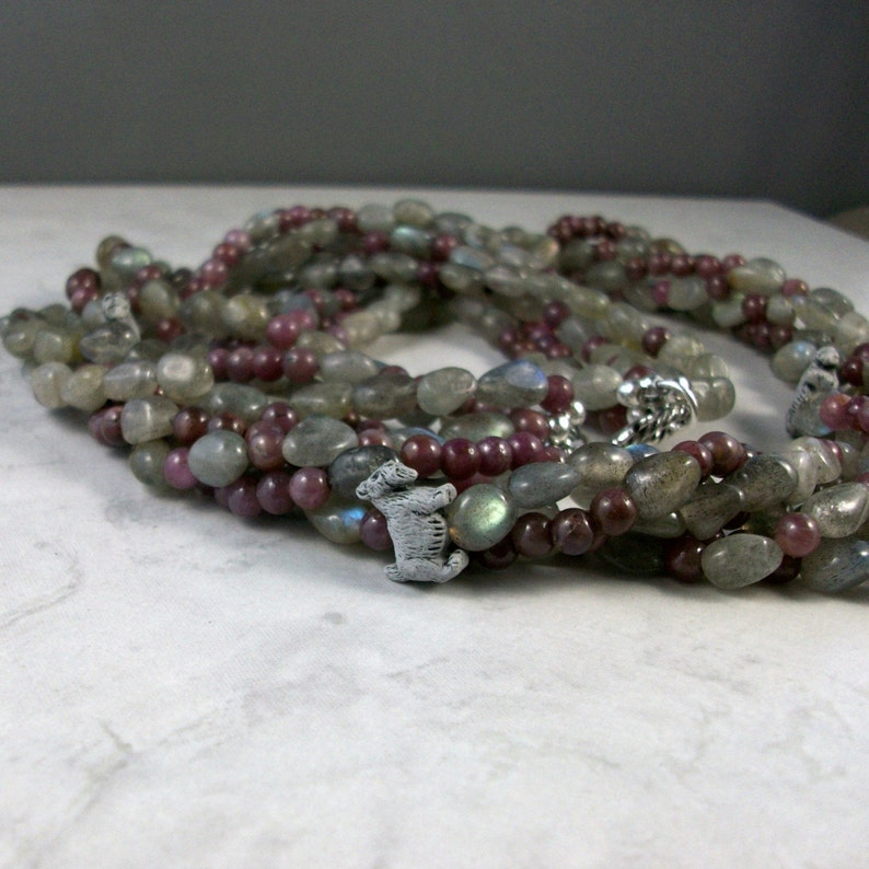 Labradorite and Ruby Torsade OOAK Scottie Necklace and Earring image 0