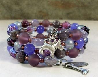 Orchid Jade, Amethyst Crystal and Silver OOAK Scottie Coil Bracelet - B-206s
