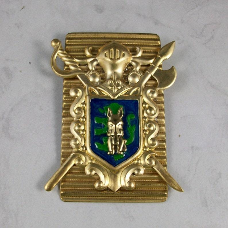Deco Heraldic Enameled Brass Coat of Arms OOAK Scottie Brooch image 0