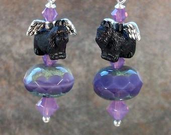 Purple Haze Swarovski Crystal OOAK Artisan Scottie Fairy Dangle Earrings - E-207s