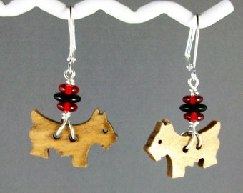Black, Red and Wood Scottie Button Earrings - E-197s
