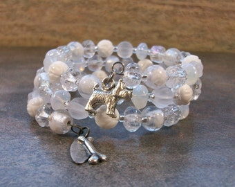 White Carved Coral Peonies, Lampwork, Crystal and Silver OOAK Scottie Coil Bracelet - B-201s