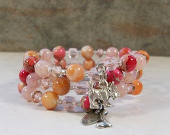 Pink and Orange Variscite, Sunstone and Crystal with Silver OOAK Scottie Coil Bracelet - B-213s