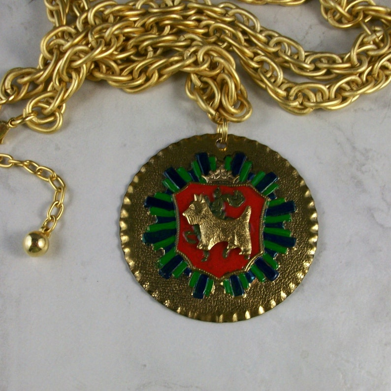 Vintage Enameled Brass Coat of Arms Medal with Golden Chain image 0
