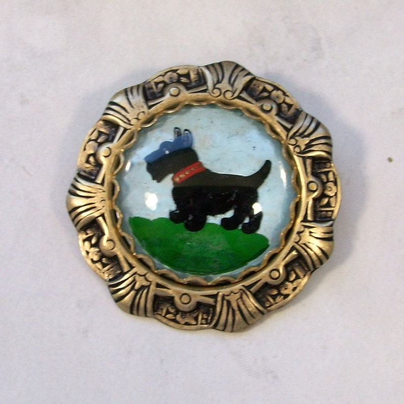Vintage Reverse Painted Crystal Intaglio in Gold Deco Setting image 0