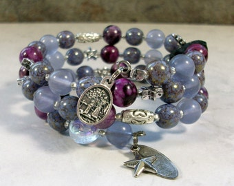 Fairy Flight Lavender Iolite, Purple Sugalite and Marbled Glass with Silver OOAK Scottie Coil Bracelet - B-210s