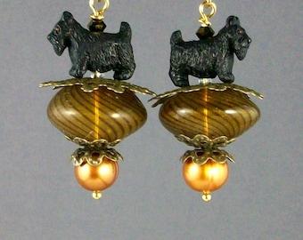 Bronze Murano Balloons Artisan Scottie Dangle Earrings - E-167s