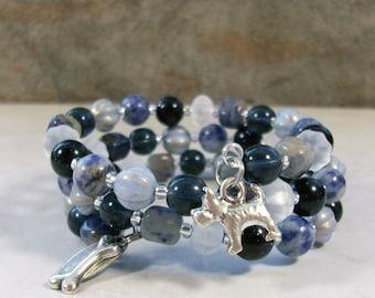 Sodalite, Blue Goldstone, Crystal and Silver OOAK Scottie Coil Bracelet - B-208s