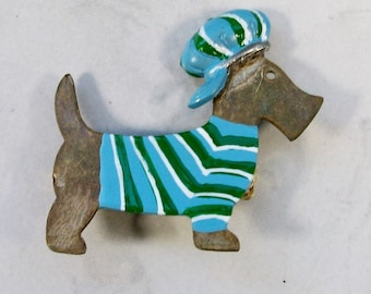 Scruffy - Our Gang Vintage Oxidized Brass with Green and Blue Enamel OOAK Scottie Brooch Pin - P-180s