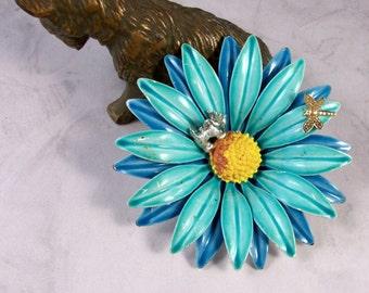 Vintage Blue Enamel Gerbera Daisy, Dragonfly and Flower Fairy OOAK Scottie Brooch Pin - P-89s