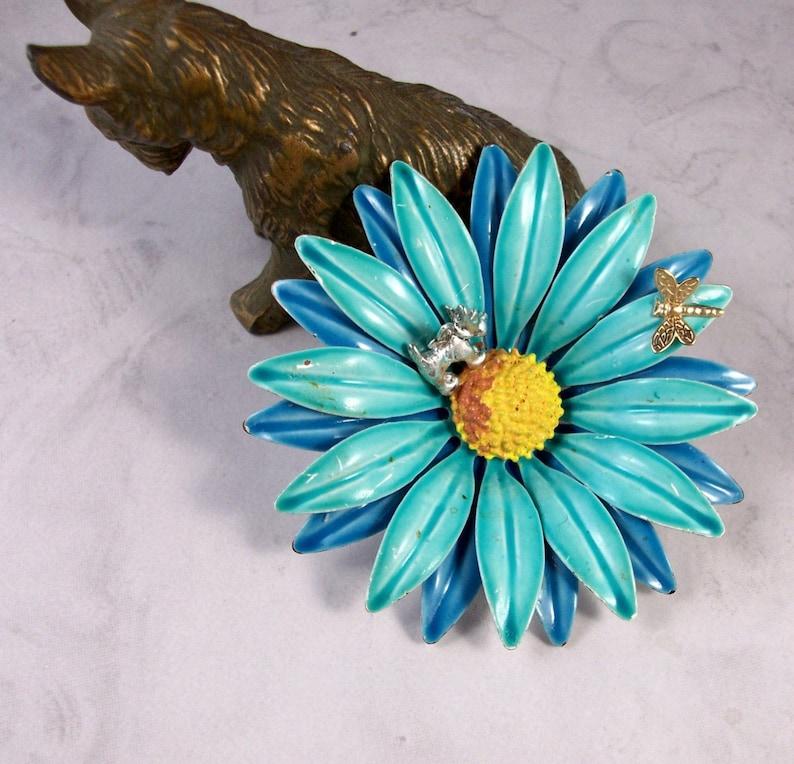 Vintage Blue Enamel Gerbera Daisy Dragonfly and Flower Fairy image 0