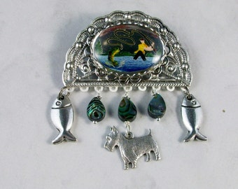 Gone Fishing - Intaglio, Paua Abalone Shell and Silver OOAK Scottie Brooch Pin - P-132s