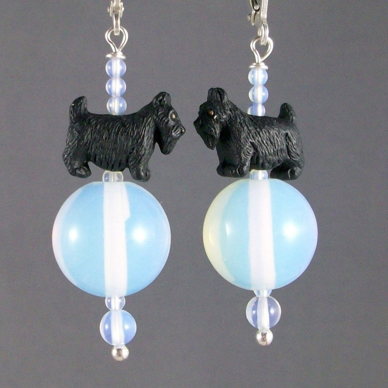 Sea Breeze White Opalite Sea Opal OOAK Scottie Earrings  image 0