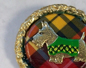 Vintage Brass Scottie with Green Argyle Coat in Tartan Setting OOAK Scottie Brooch Pin - P-169s