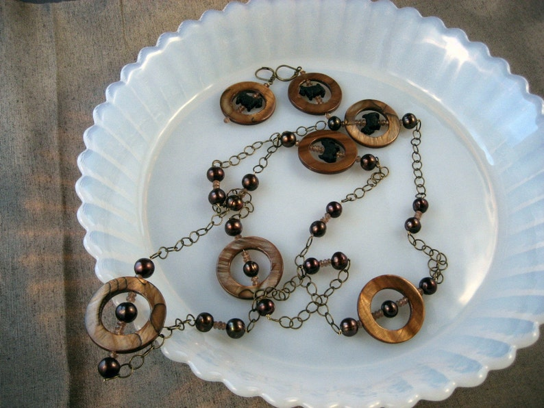245s Andalusite Mother of Pearl Pearls and Bronze Chain OOAK Scottie Dog Necklace and Earring Set Ring Toss