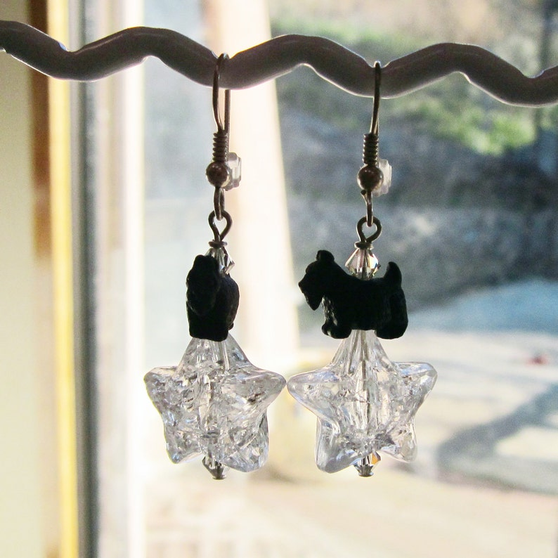 Wishes Clear Acrylic Star Scottie Earrings image 0