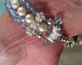 Iolite and Pearl Scottie OOAK Adjustable Bracelet - B-80s