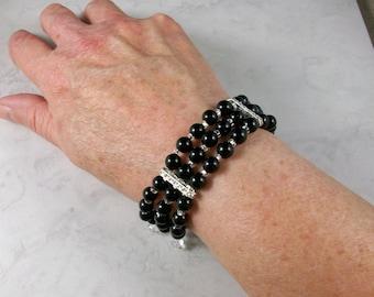 Tuxedo Black Onyx and Swarovski Crystal OOAK Scottie Stretch Cuff Bracelet and Earring Set - B-150ss