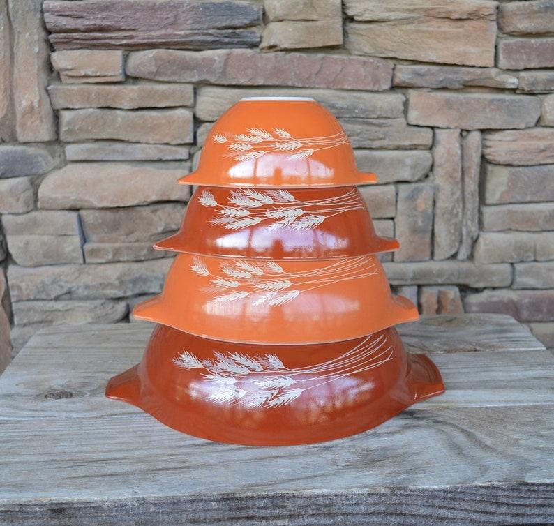 Vintage Pyrex Autumn Harvest Cinderella Bowl Set #441 #444 #442 #443