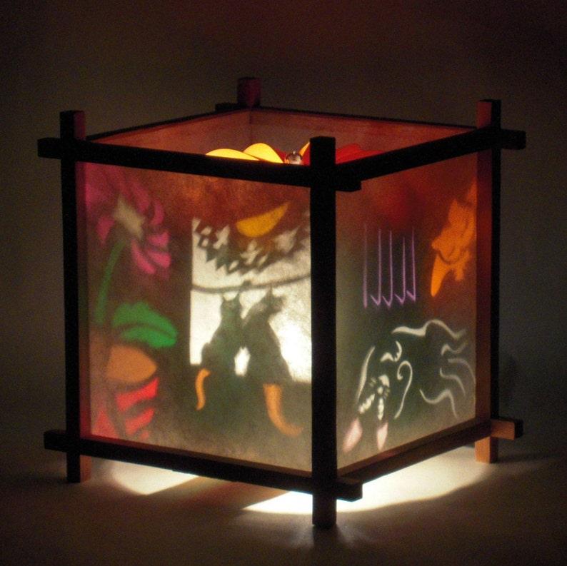 Handmade Table Lamp Nursery Decor Kids Night Light Gift For Cat Lovers  Spinning Cats Harmony Lantern