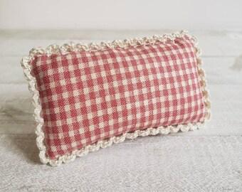 Miniature Headboard Pillow - Fits Medium Bed - Pink Gingham
