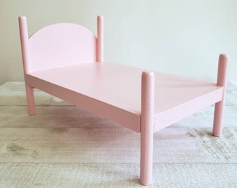 Miniature Wooden Doll Bed - Medium Size in Shell Pink