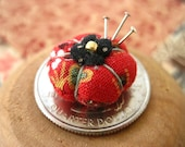 Picca-Little Miniature Pincushion for Dolls - READY TO SHIP in Calico Red