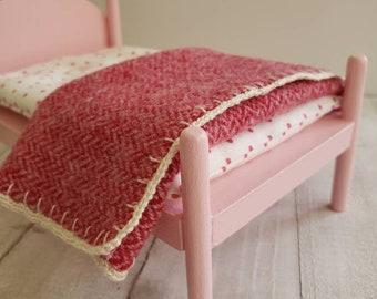 Miniature Wool Blanket - Fits Medium Doll Bed - Red Herringbone with Ivory Crochet