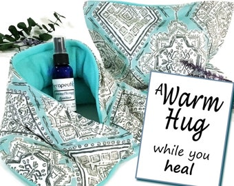 Get Well Gift Set | Get Well Care Package | Surgery Gift | Rice Pack Microwave Heating Pads | Spa gift for her, A Warm Hug Gift