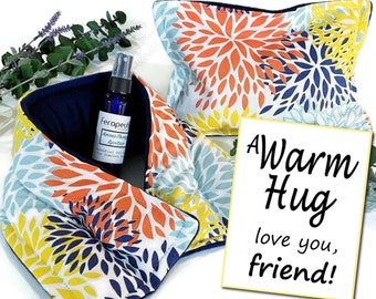 Gift Package for Friend, Encouragement or Birthday Present for Best Friend, A Warm Hug Relaxing Gift Set Heating Pads and Aromatherapy Spray