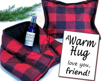 Friend Gift for Christmas, Holiday Gift Box for Best Friend, A Warm Hug Relaxation Care Package, Microwave Heating Pads and Aromatherapy