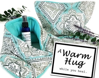 Get Well Gift Set   Get Well Care Package   Surgery Gift   Rice Pack Microwave Heating Pads   Spa gift for her, A Warm Hug Gift