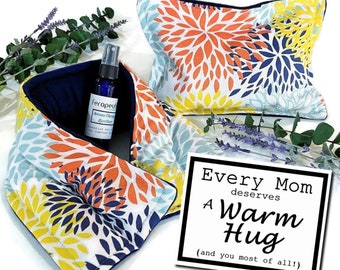Mothers Day Gift for Mom, Give A Warm Hug with Relaxing Comfort Set with Heat Up Microwave Packs and Aromatherapy Spray